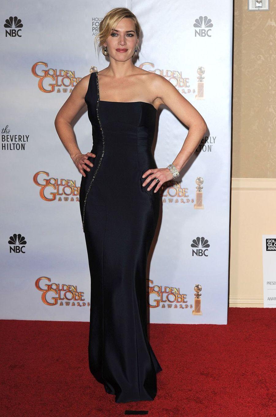 Kate Winslet dans la salle de presse de la cérémonie des Golden Globes à Los Angeles en janvier 2010
