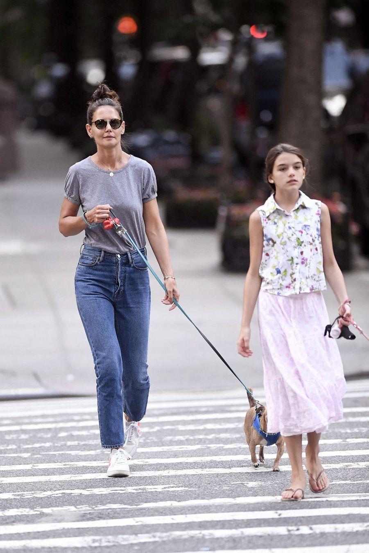 Katie Holmes et sa fille Suri Cruise à New York le 19 août 2019