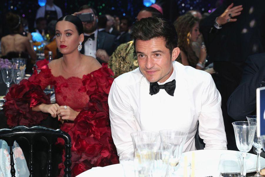 Orlando Bloom et Katy Perry au gala de l'AmFar à Cannes, en mai 2016.