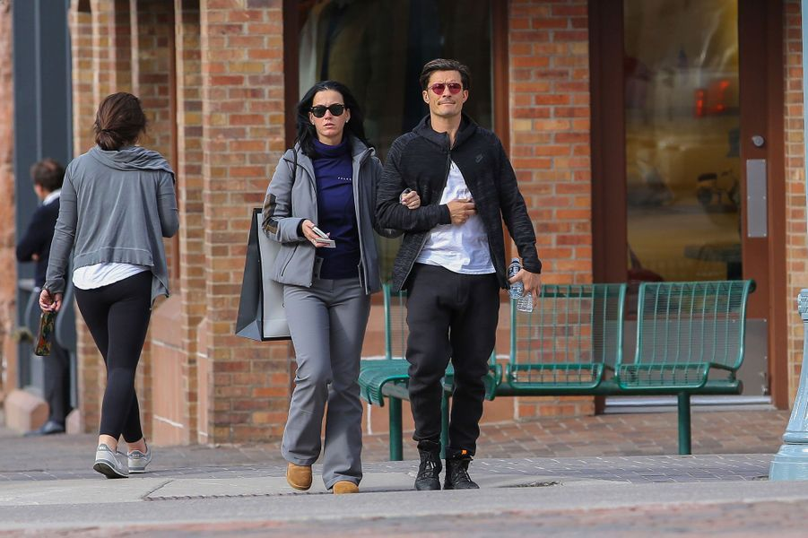 Orlando Bloom et Katy Perry en vacances à Aspen en avril 2016.