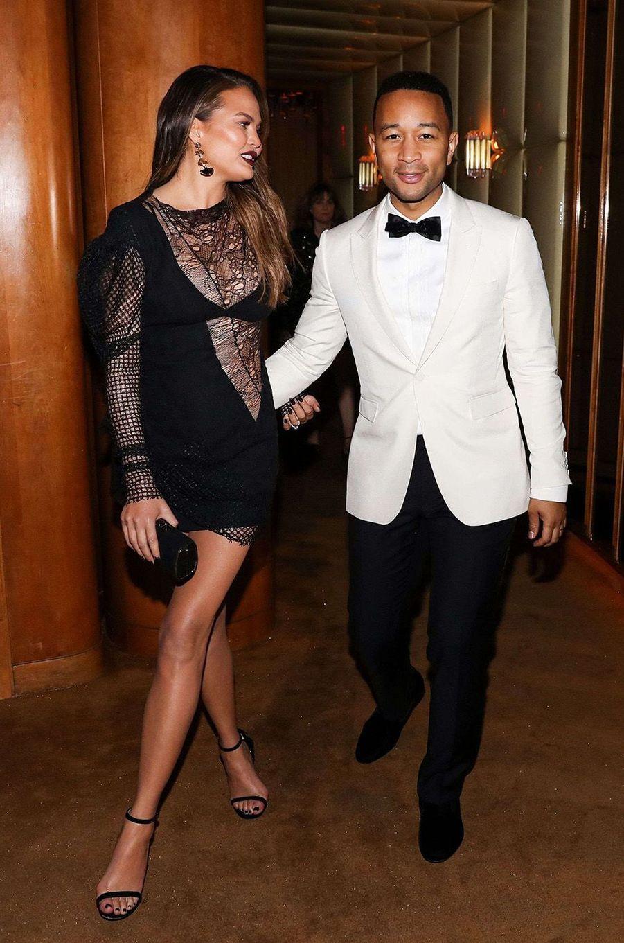 John Legend et son épouse Chrissy Teigenà l'after-party du Met Gala 2017.