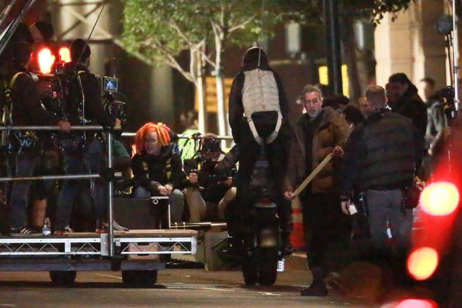 Lana Wachowski et Keanu Reeves sur le tournage de «Matrix 4» à San Francisco le 15 février 2020
