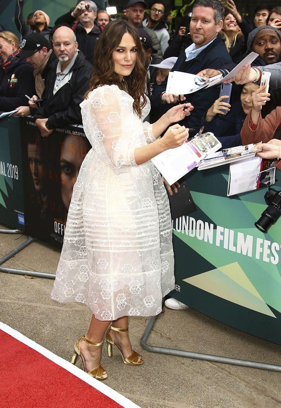 Keira Knightley lors de la première du film «Official Secrets» au 63èmeBFI de Londres, le jeudi 10 octobre 2019.