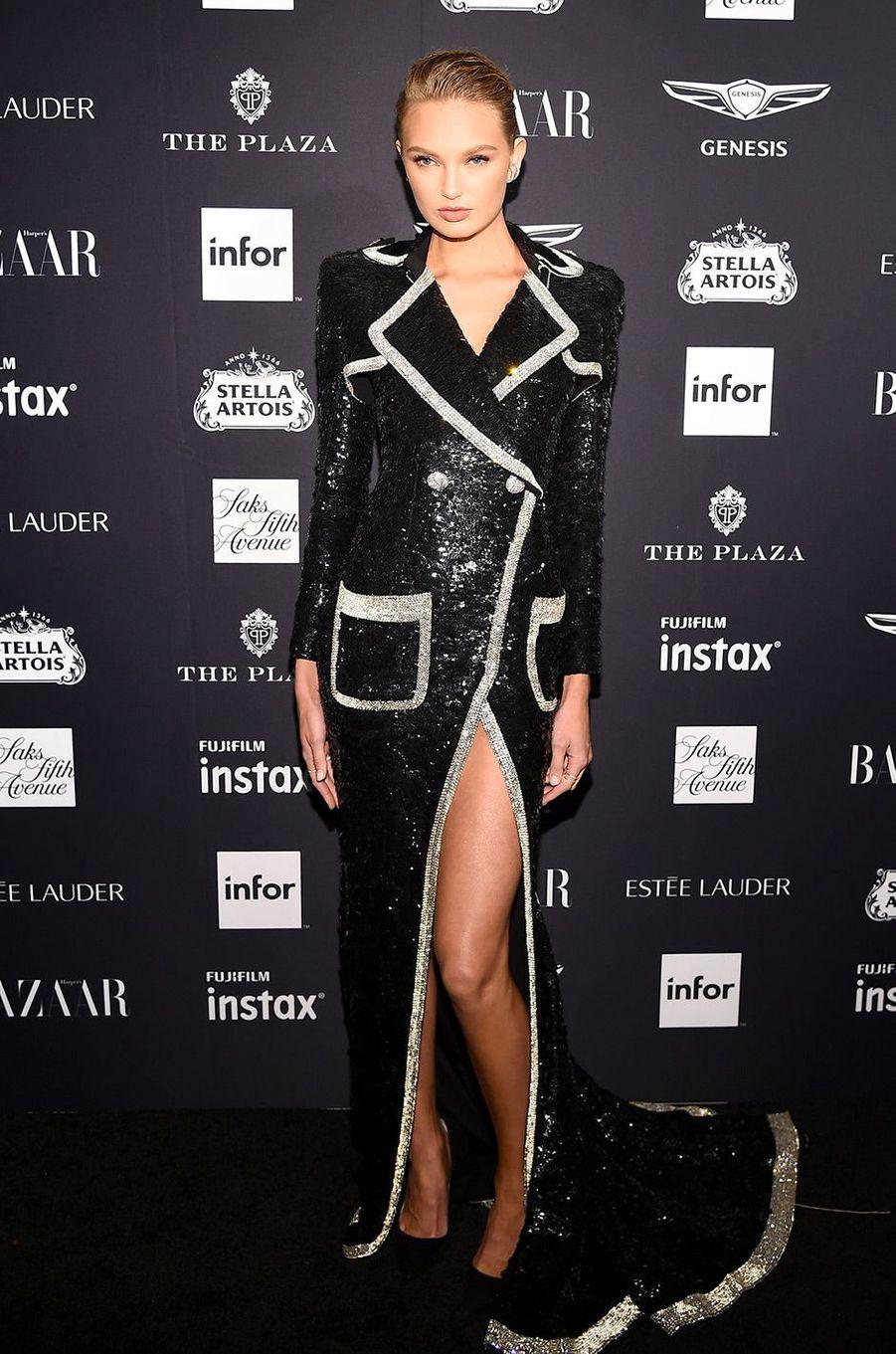 Romee Strijd à la soirée Harper's Bazaar Icons, vendredi 7 septembre