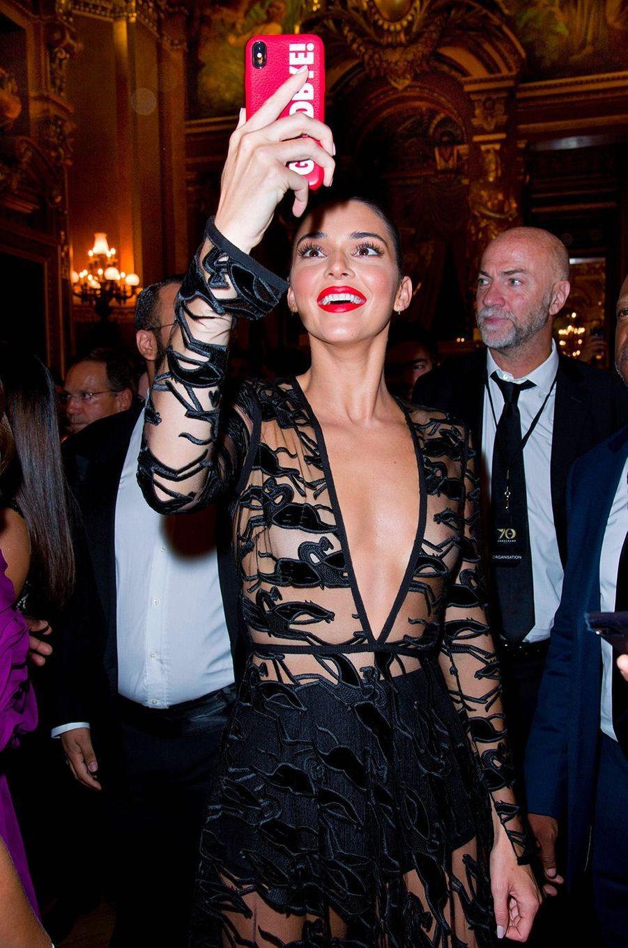 Kendall Jenner à la soirée Longchamp, à l'Opéra Garnier, à Paris, mardi 11 septembre