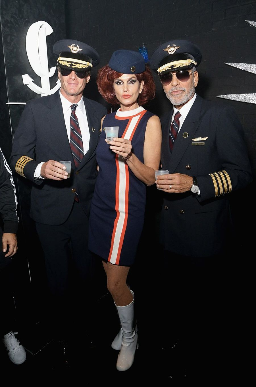 Rande Gerber, Cindy Crawford et George Clooney à la soirée Casamigos, à Las Vegas, samedi 26 octobre