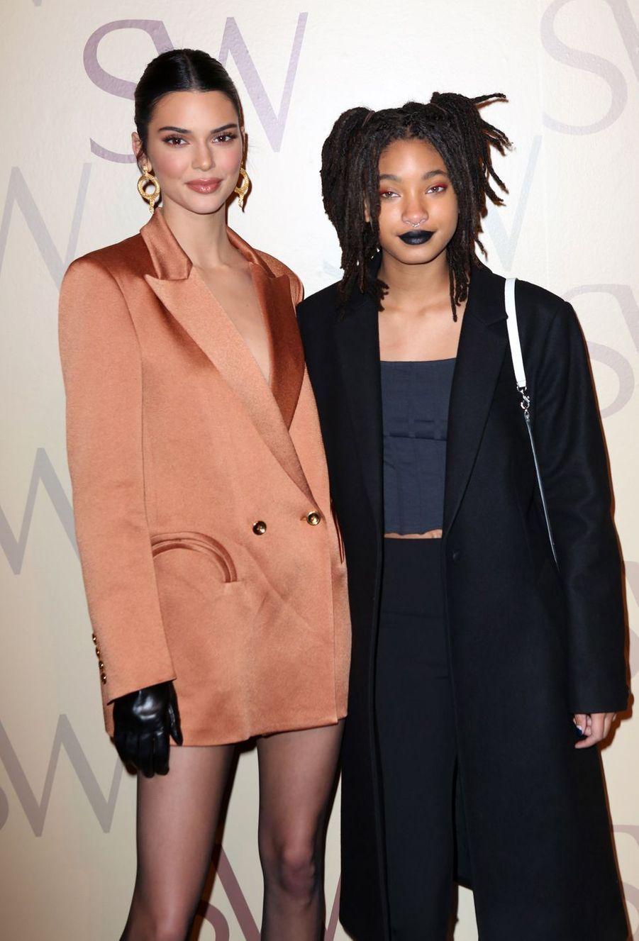Kendall Jenner et Willow Smith à la présentation de la marque Stuart Weitzman lors de la Fashion Week à New York le 12 février 2019