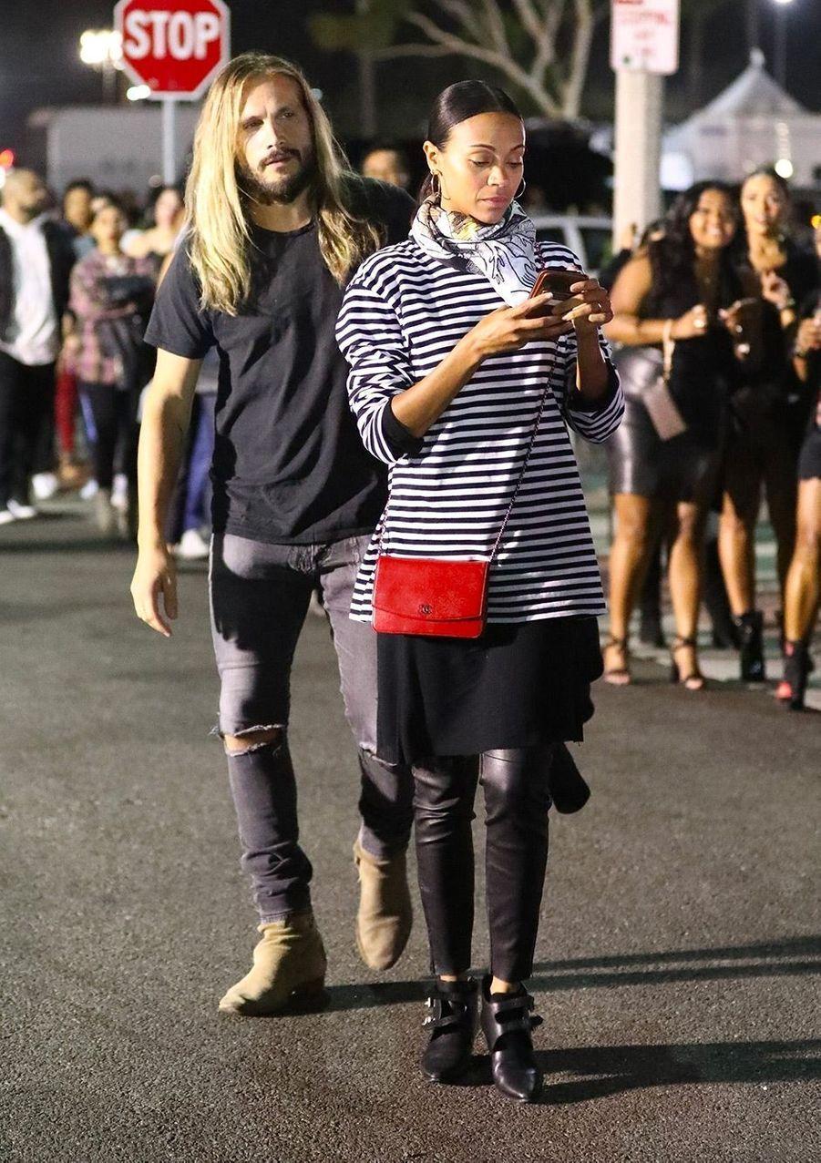 Zoe Saldana et Marco Perego au concert de Beyoncé et Jay Z, à Los Angeles, dimanche 23 septembre