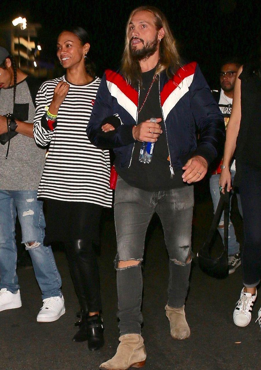 Zoe Saldanaet Marco Peregoau concert de Beyoncé et Jay Z, à Los Angeles, dimanche 23 septembre