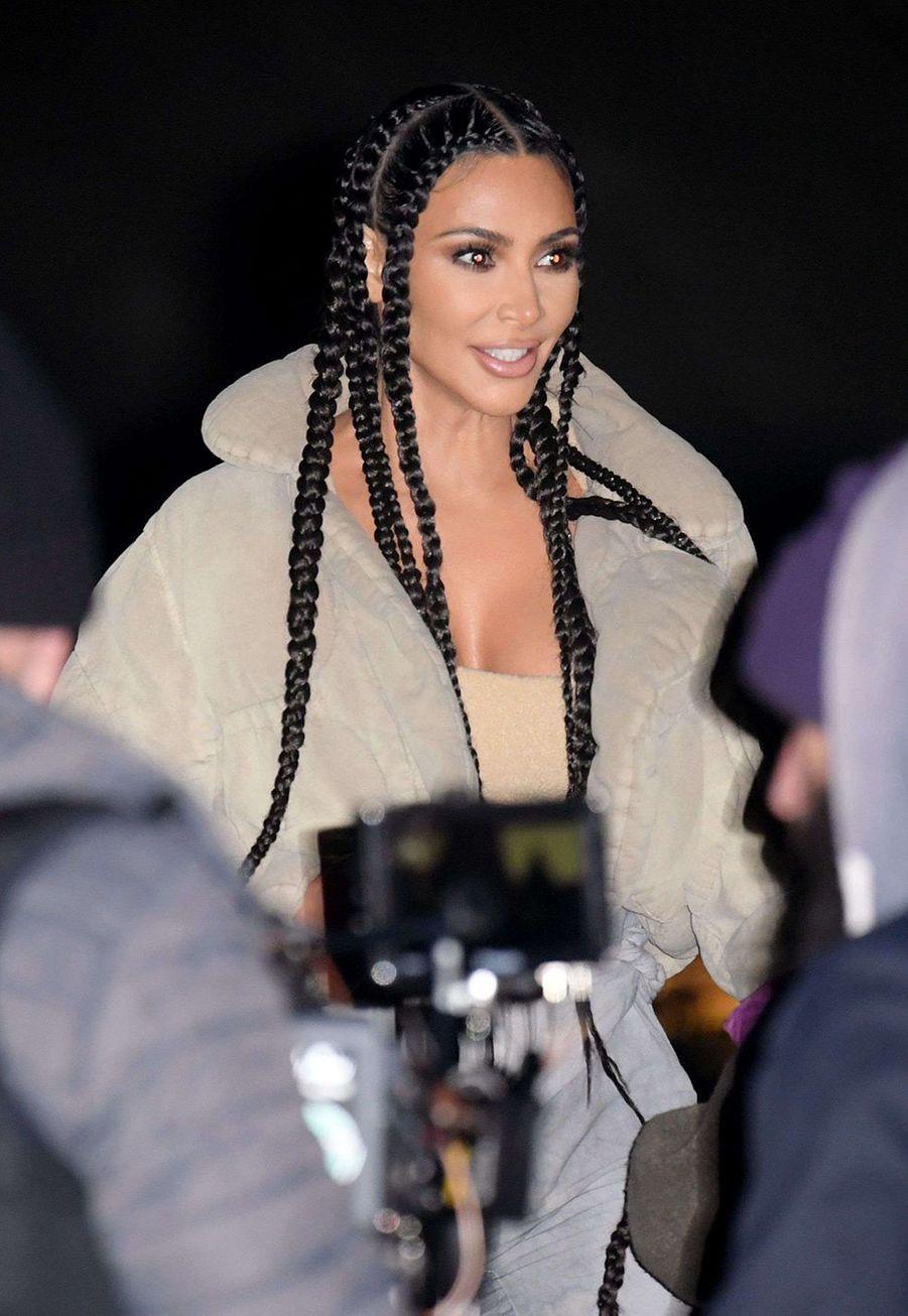 Kim Kardashianarrive àla présentation de la 8ème saison de la marque Yeezy à Paris, le 2 mars 2020.
