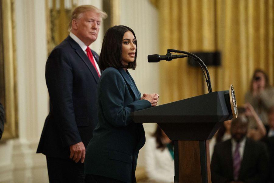 Donald Trump et Kim Kardashian à la Maison-Blanche le 13 juin 2019