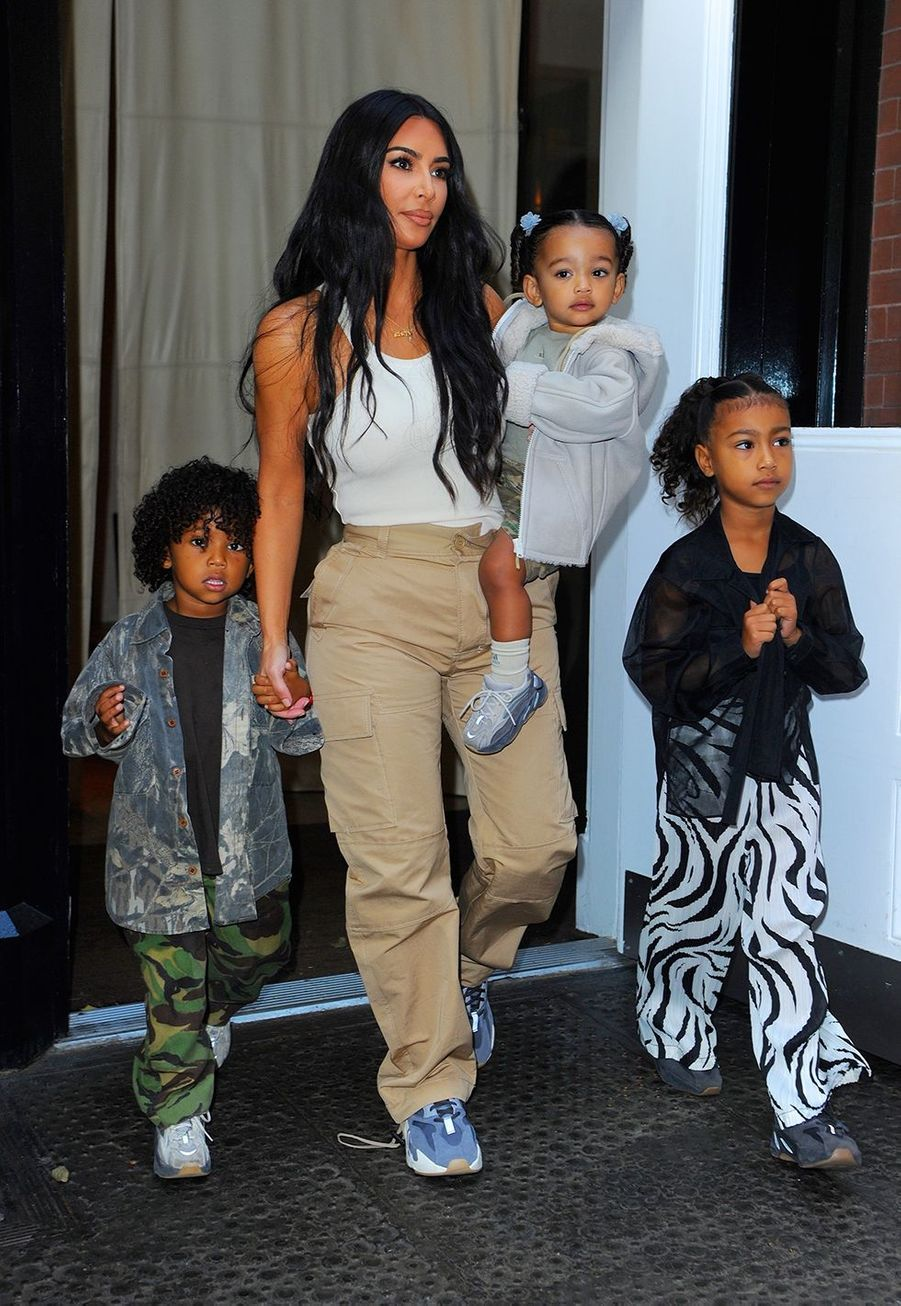 Kim Kardashian et ses enfants Saint, Chicago et North à New York le 29 septembre 2019