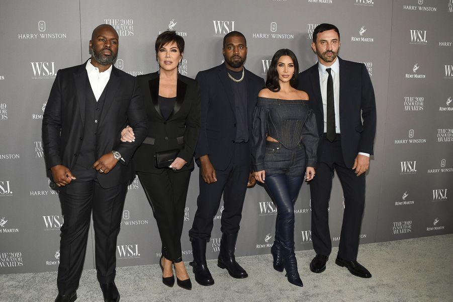 Corey Gamble, Kris Jenner, Kanye West, Kim Kardashian et Riccardo Tiscià la 9e édition des WSJ. Magazine Innovator Awards à New York le 6 novembre 2019