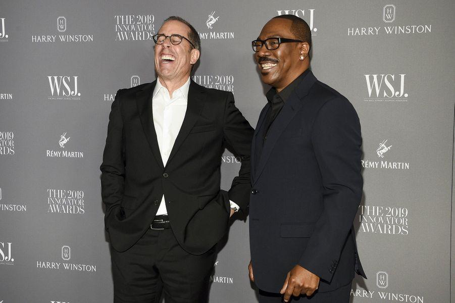 Jerry Seinfeld et Eddie Murphyà la 9e édition des WSJ. Magazine Innovator Awards à New York le 6 novembre 2019