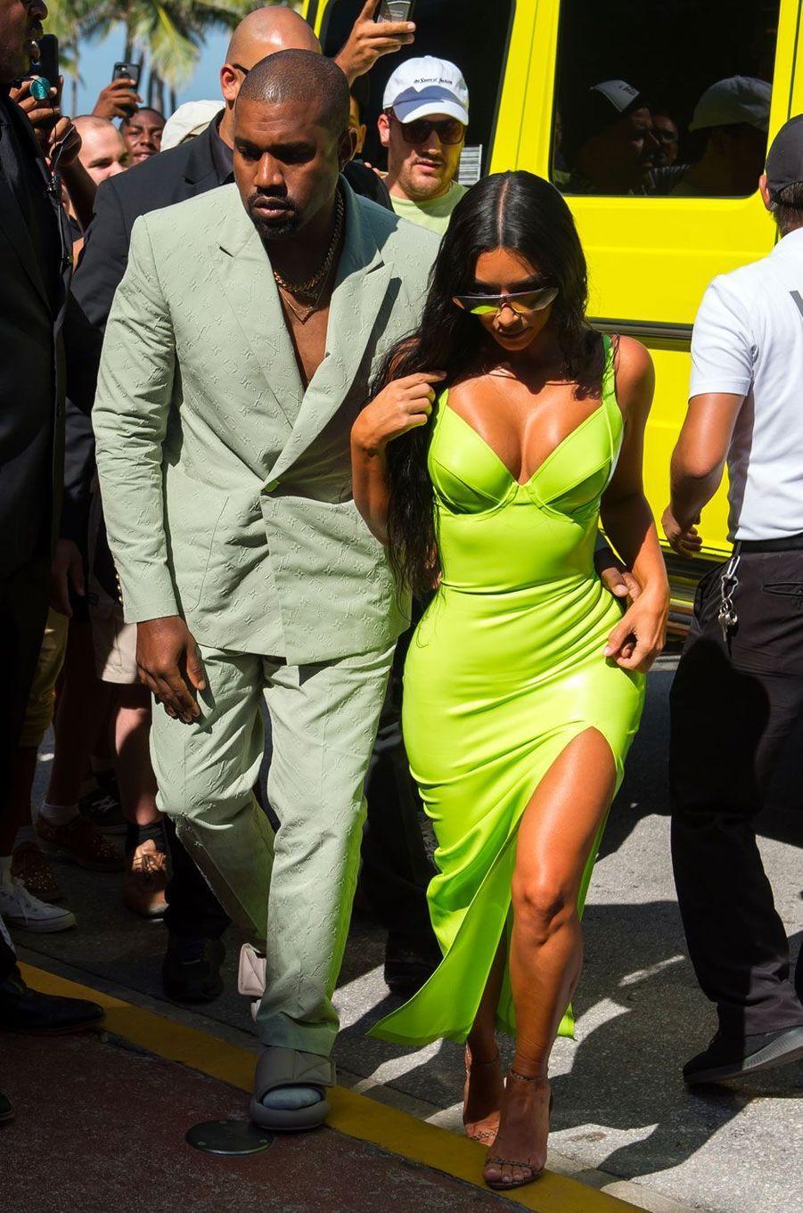 Kim Kardashian et Kanye West à Miami le 18 août 2018