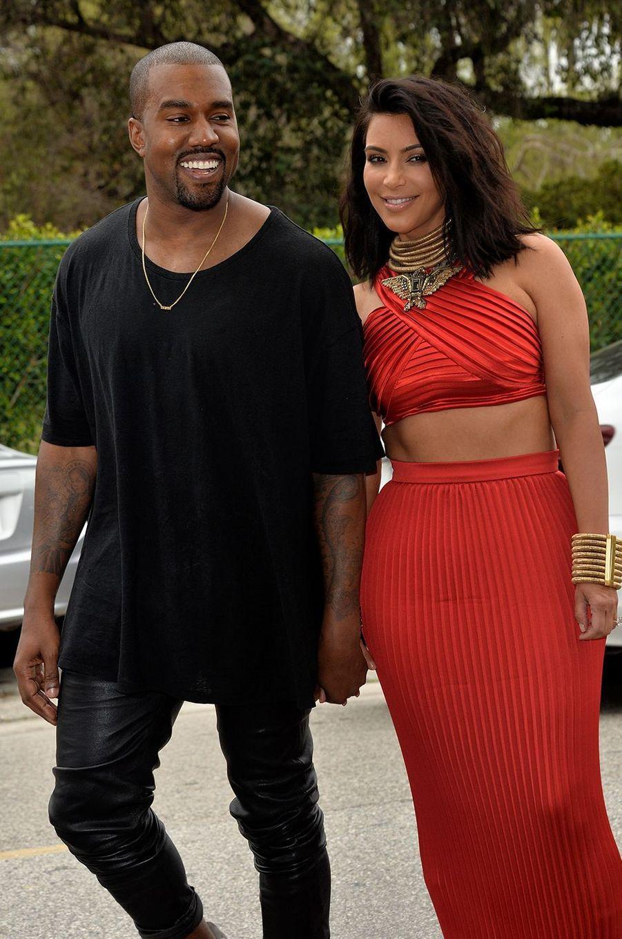 Kanye West et Kim Kardashian à Los Angeles en février 2015