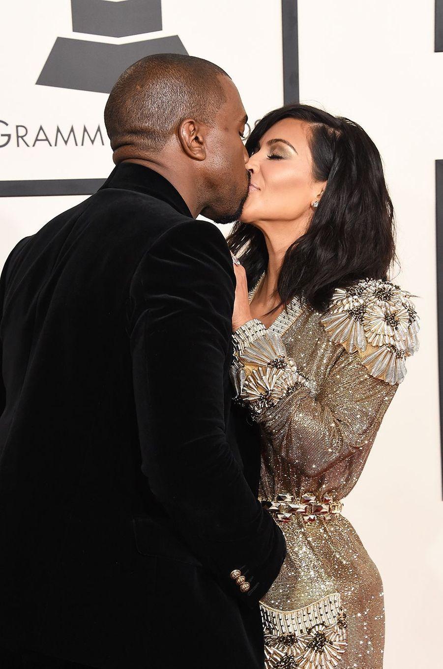 Kanye West et Kim Kardashian aux Grammy Awards à Los Angeles en février 2015