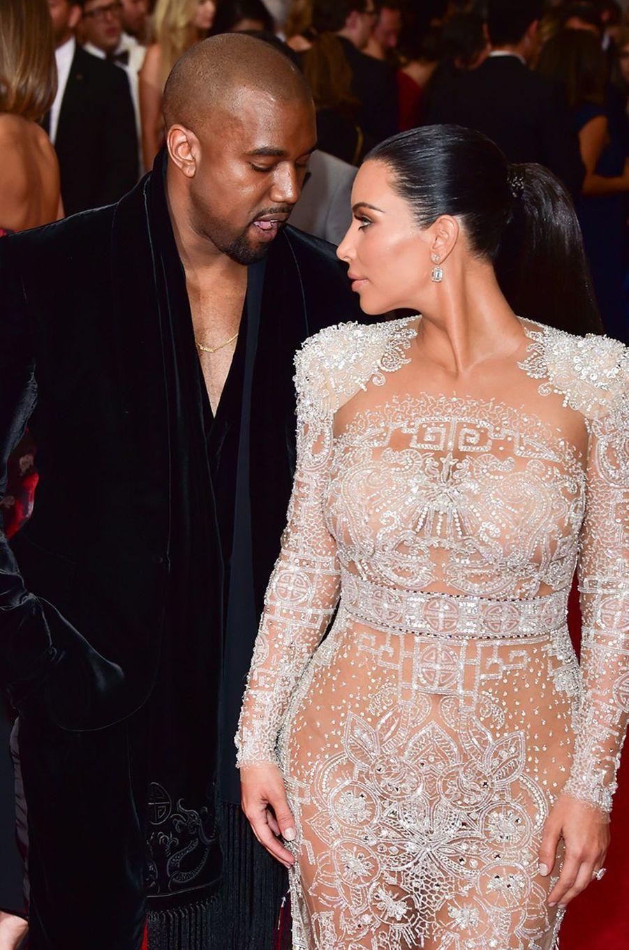 Kanye West et Kim Kardashian au gala du MET à New York en mai 2015