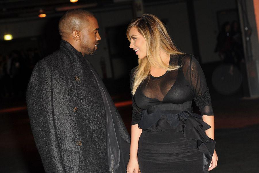 Kanye West et Kim Kardashian à Paris lors de la Fashion Week en septembre 2013