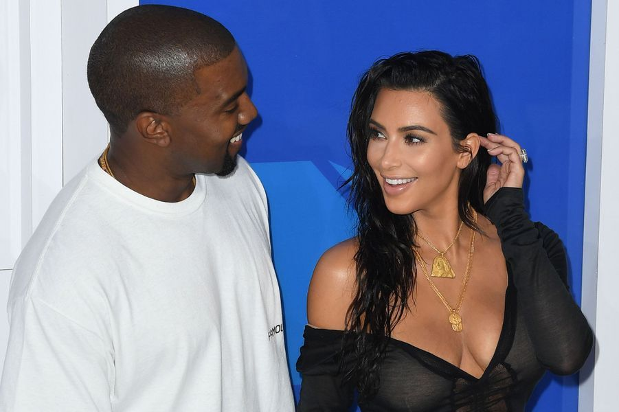 Kanye West et Kim Kardashian aux MTV Video Music Awards à New York en août 2016