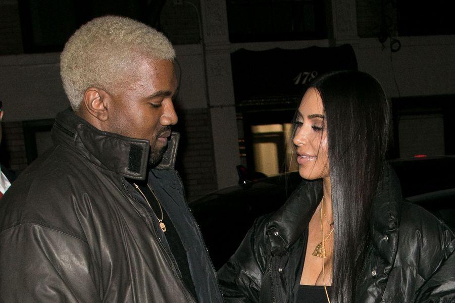 Kanye West et Kim Kardashian à New York en février 2017