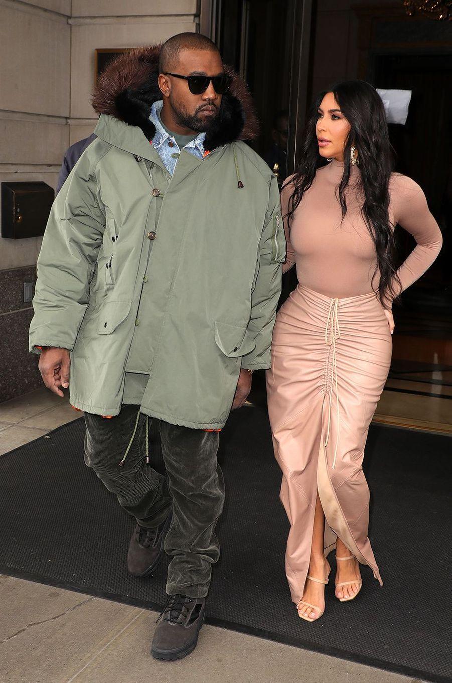 Kanye West et Kim Kardashian à New York en février 2020