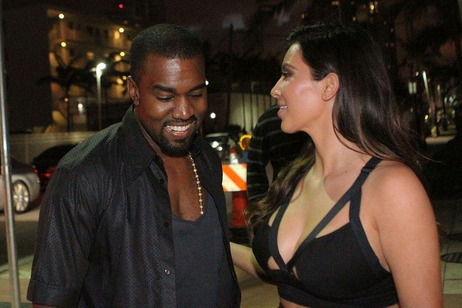 Kanye West et Kim Kardashian à Miami en octobre 2012