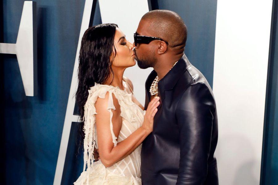 Kim Kardashian et Kanye West à l'after-party des Oscars à Los Angeles en février 2020