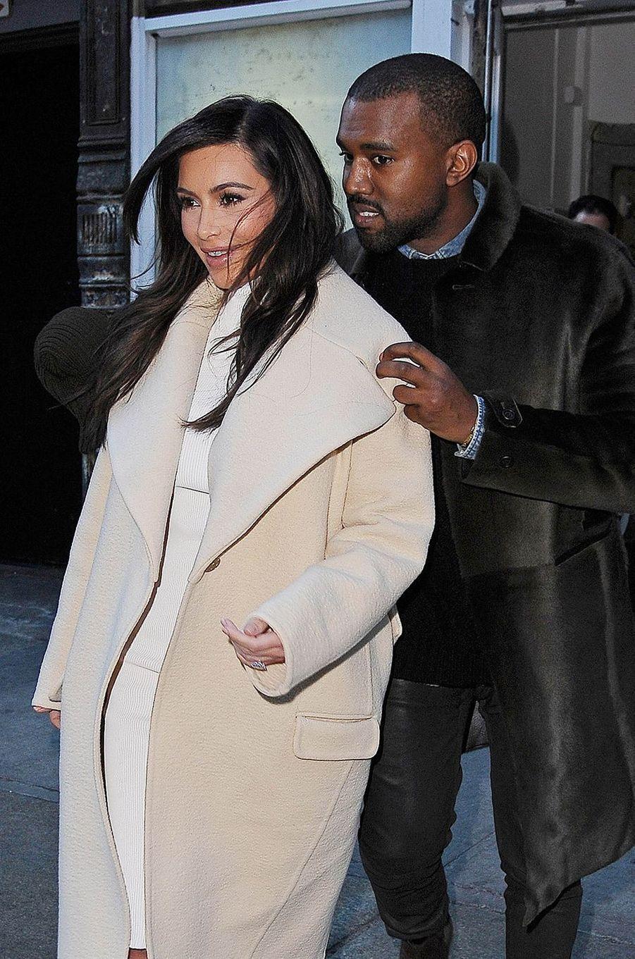Kim Kardashian et Kanye West à New York en février 2014