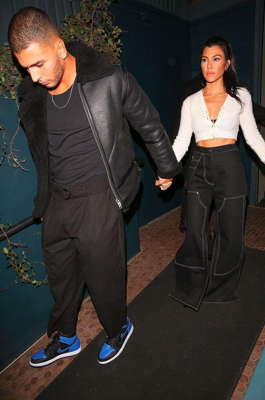 Kourtney Kardashian et Younes Bendjima arrivent à l'anniversaire de Kendall Jenner