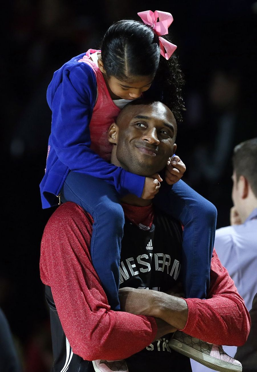 Kobe Bryant avec sa fille Gianna à Houston le 16 février 2013