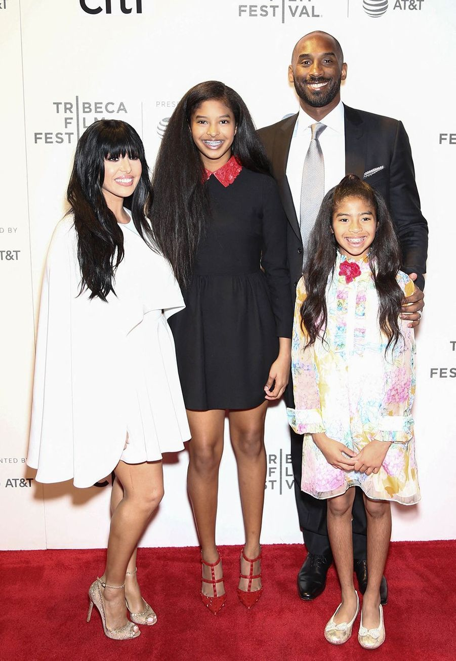Kobe Bryant, sa femme Vanessa et leurs filles Natalia et Gianna au Festival du film de Tribeca à New York le 23 avril 2017