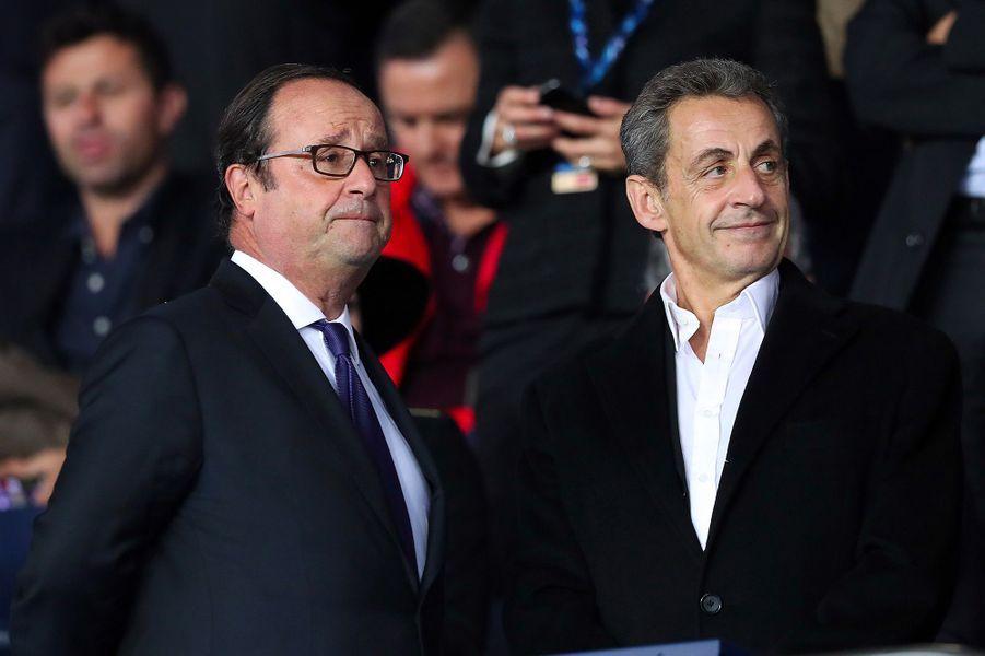 François Hollande et Nicolas Sarkozy dans les tribunes du Parc des Princes
