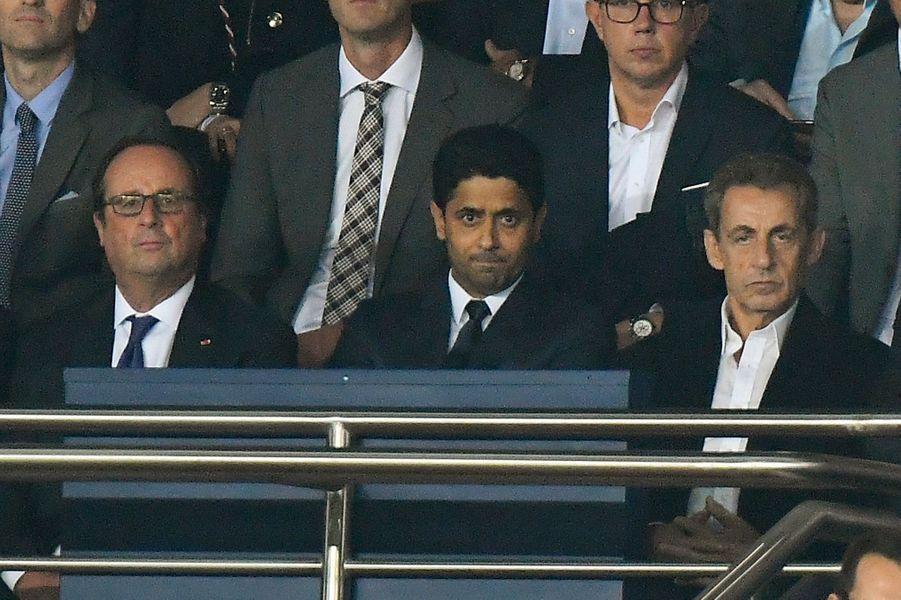 François Hollande, Nasser Al-Khelaïfi, Nicolas Sarkozy dans les tribunes du Parc des Princes