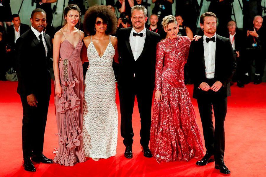 Anthony Mackie, Zazie Beatz, Margaret Qualley, Benedict Andrews,Kristen Stewart et Jack O'Connell sur le tapis rouge de Venise, le 30 août 2019.