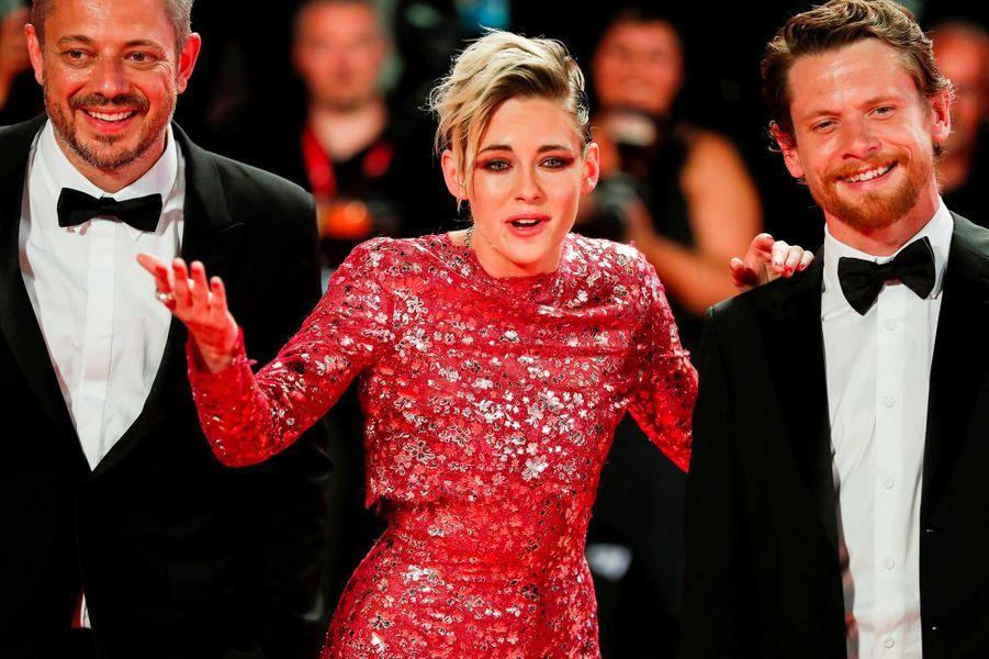 Benedict Andrews,Kristen Stewart et Jack O'Connell sur le tapis rouge de Venise, le 30 août 2019.