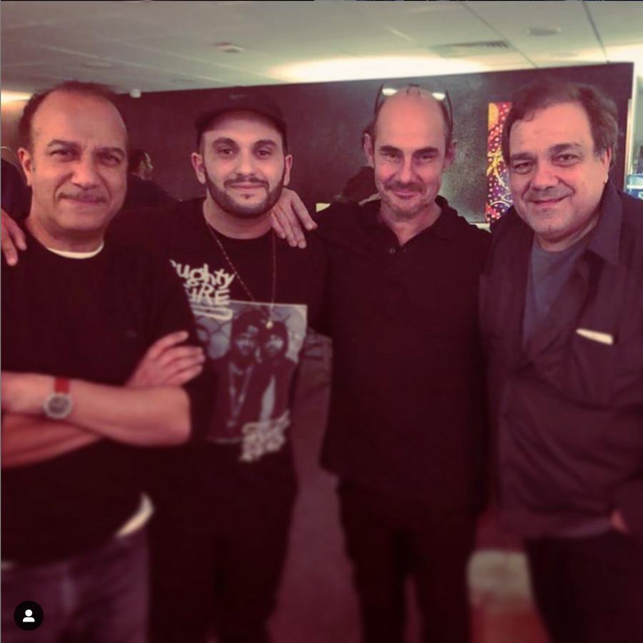 Didier Bourdon, Bernard Campan, Pascal Légitimus et Malik Bentalhadans les coulisses des Enfoirés, le 28 janvier 2019