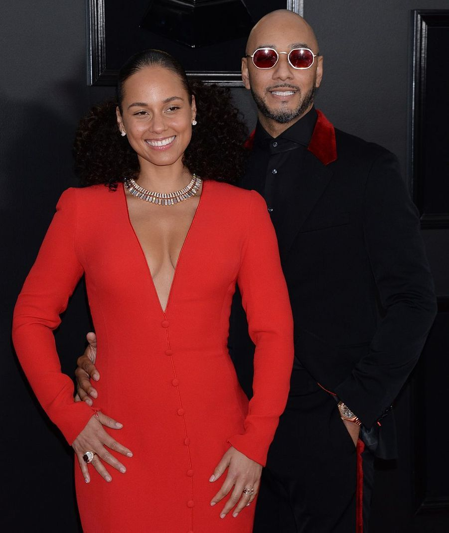 Alicia Keys et son mari Swizz Beatz sur le tapis rouge des Grammy Awards à Los Angeles le 9 février 2019