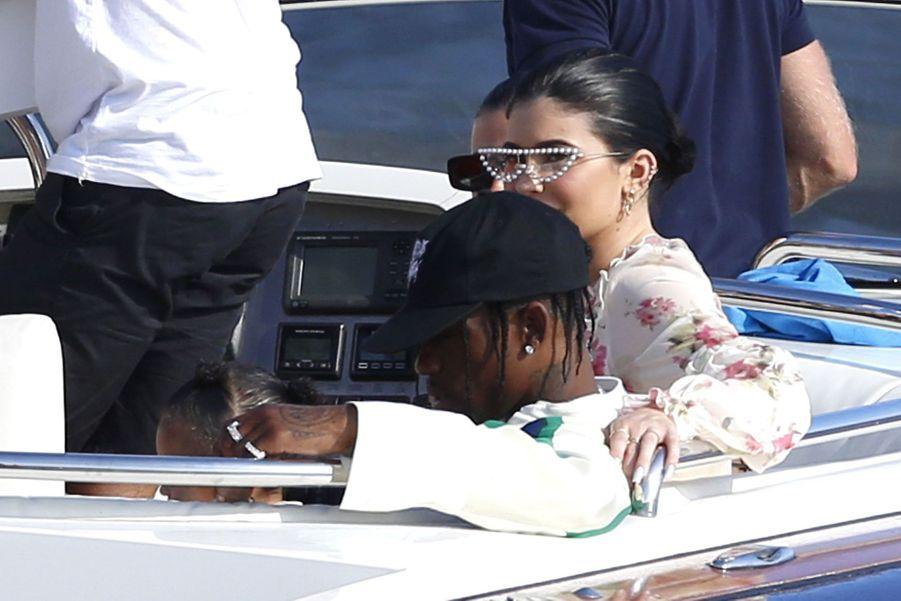 Kylie Jenner, Travis Scott et leur fille Stormià Antibes le 14 août 2019