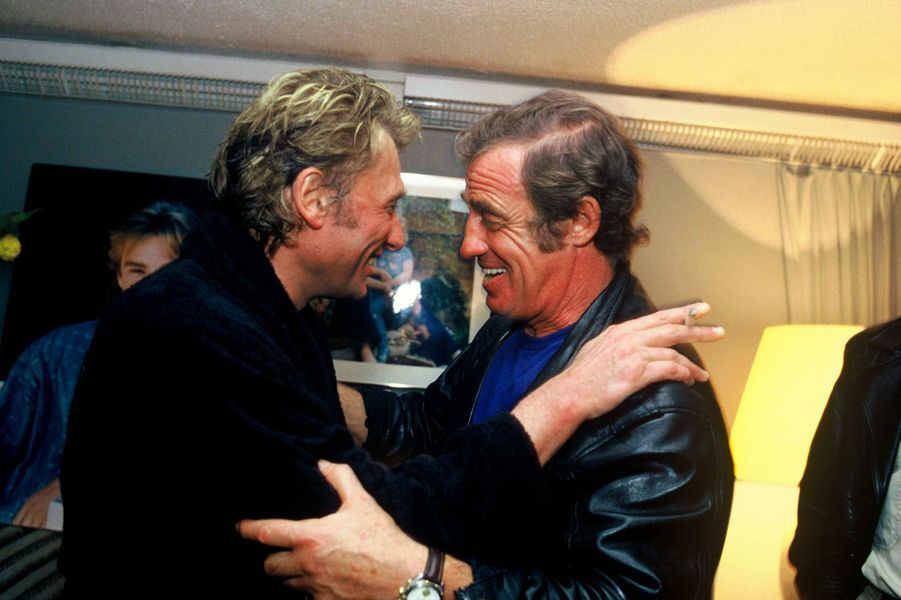 Jean-Paul Belmondo et Johnny Hallyday en 1987