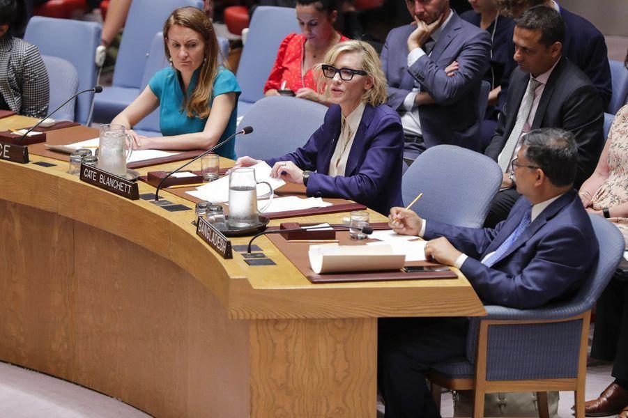 Cate Blanchett à l'ONU, à New York, mardi 28 août