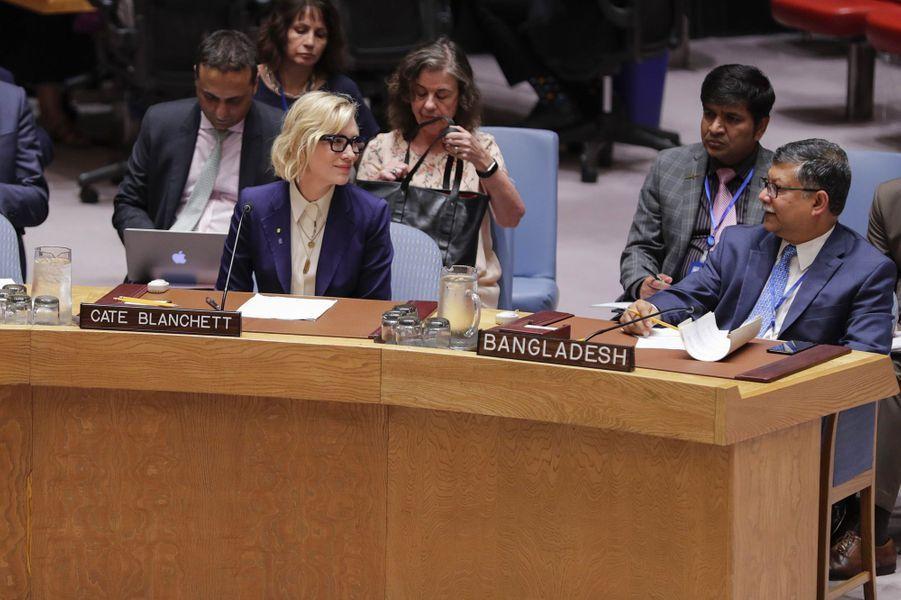 Cate Blanchett à l'ONU, à New York,mardi 28 août