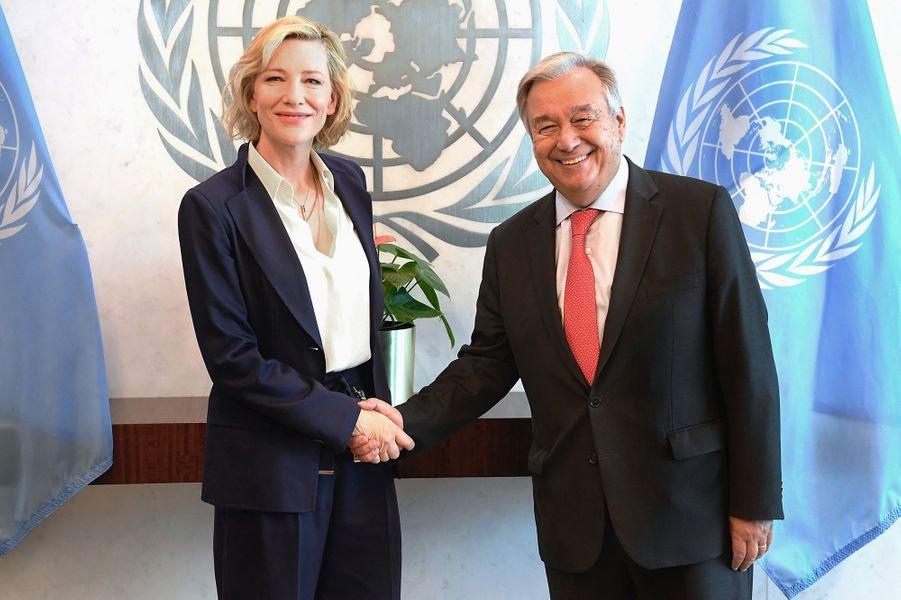 Cate Blanchett à l'ONU, à New York, face au secrétaire générale de l'ONUAntónio Guterres,mardi 28 août