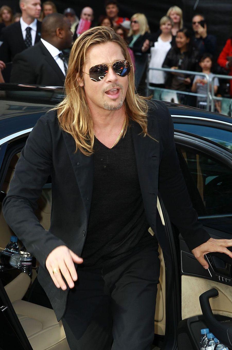 "Brad Pitt à l'avant-première londonienne de ""World War Z"", 2013."