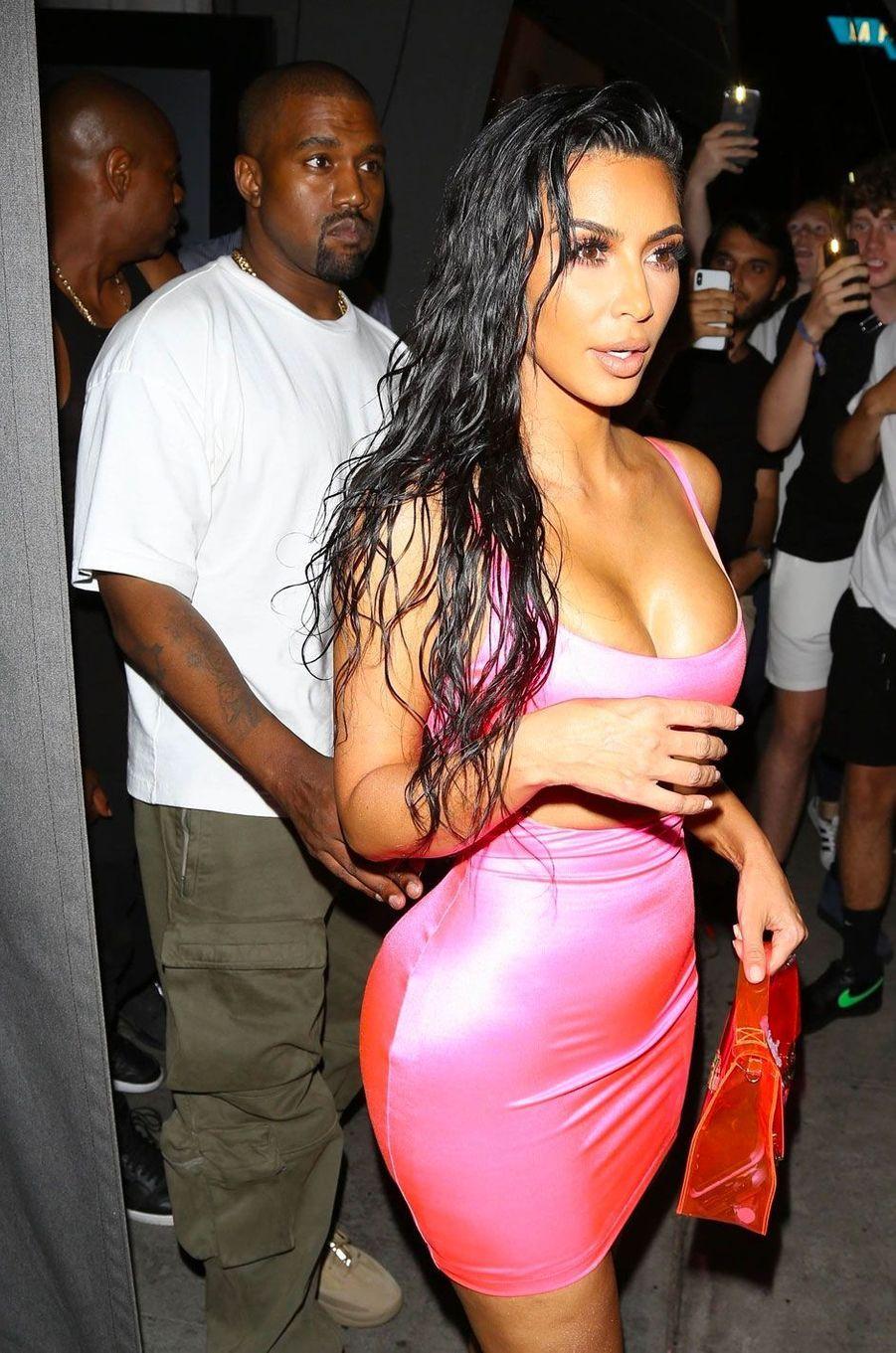 Kim Kardashian et Kanye West à la soirée d'anniversaire de Kylie Jenner le 9 août