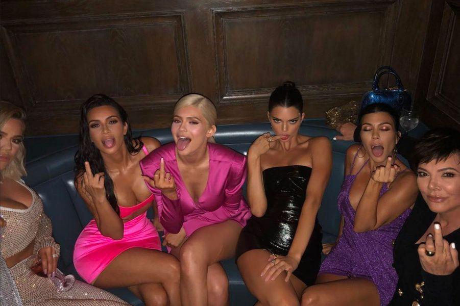 Le clan Kardashian-Jenner à la soirée d'anniversaire de Kylie Jenner le 9 août