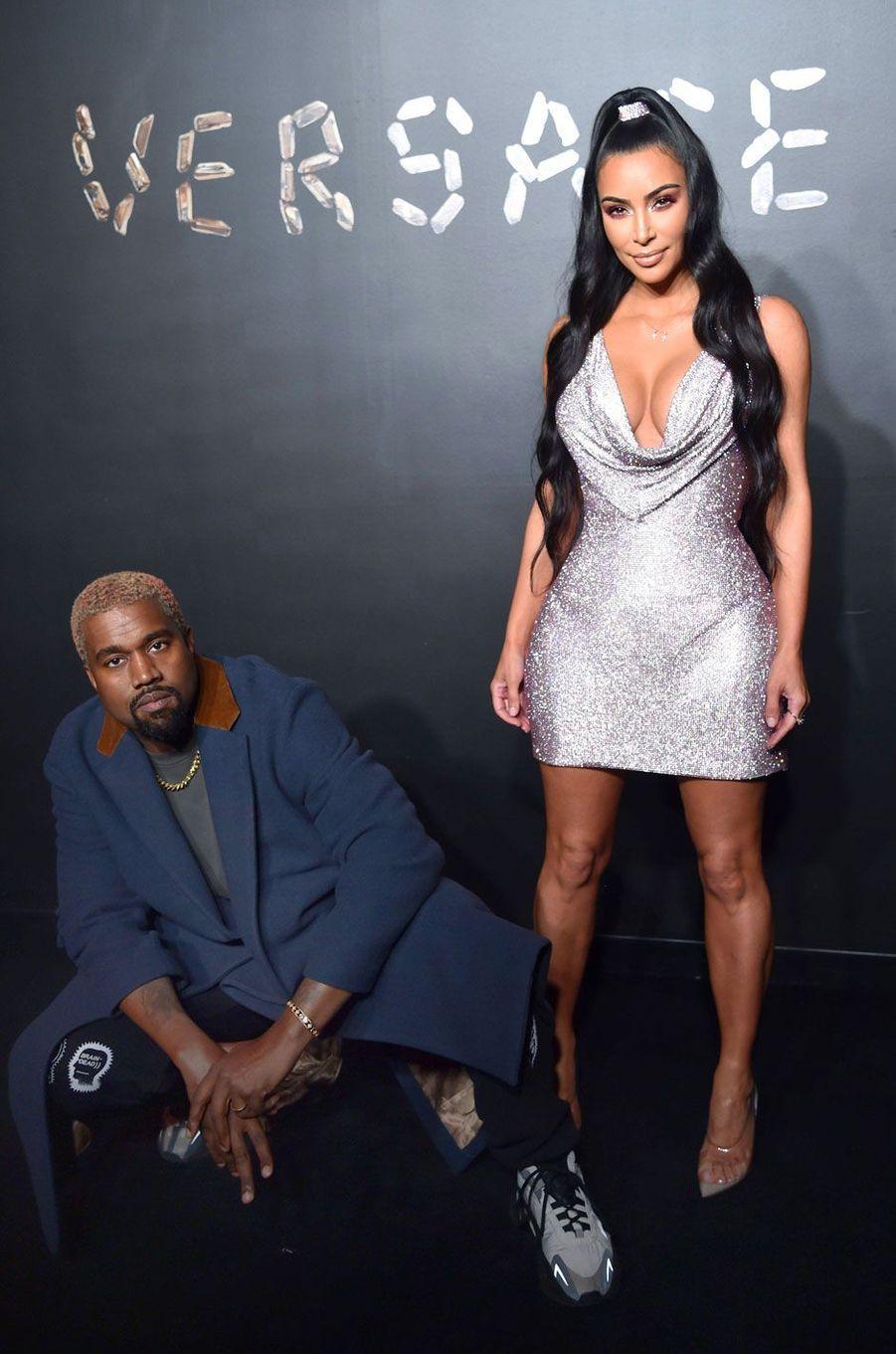 Kim Kardashian et Kanye West au défilé Versace le 2 décembre 2018