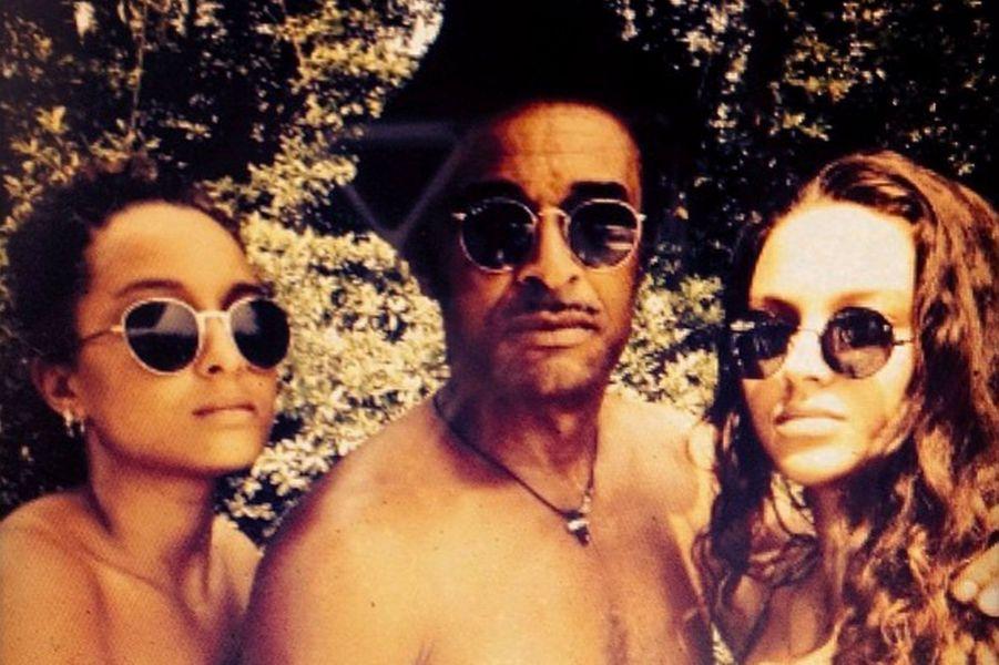 Jenaye Noah, avec son père Yannick Noah et sa soeur Eleejah