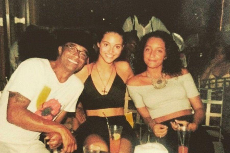 Jenaye Noah et son père Yannick Noah et sa soeur Eleejah