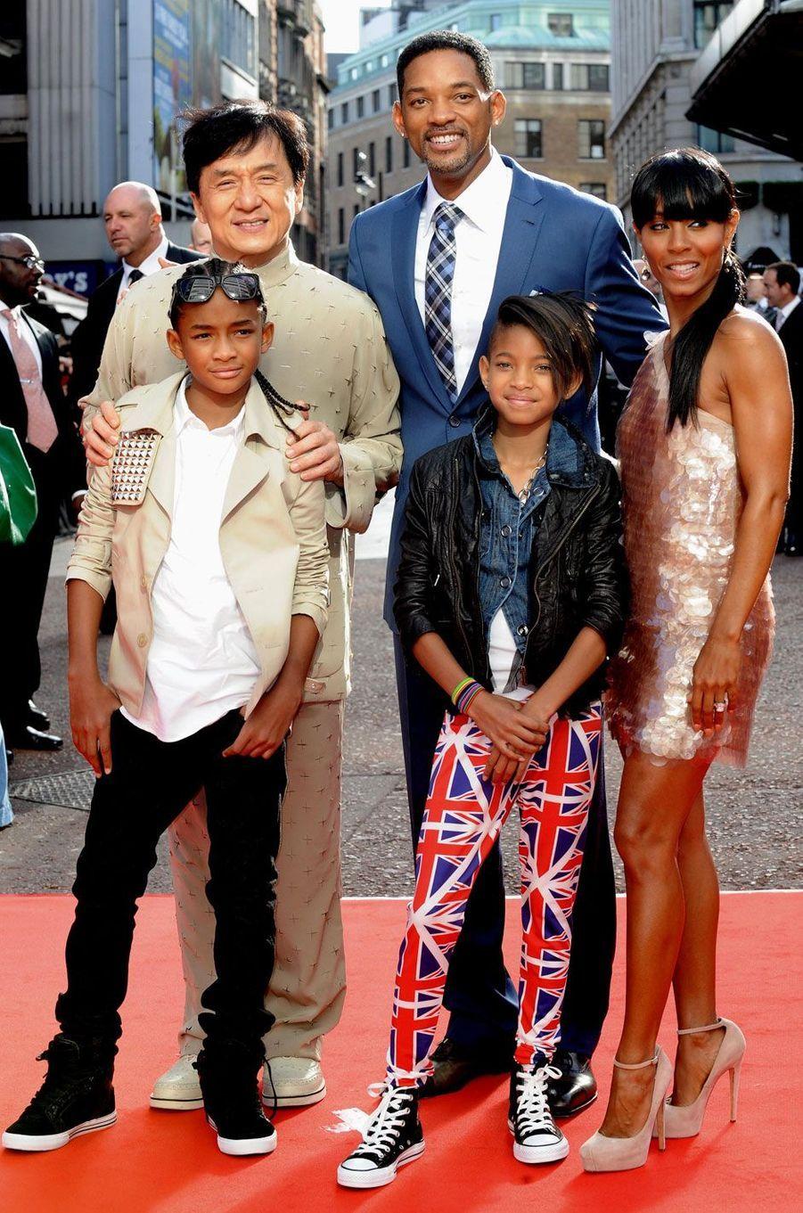 Jackie Chan, Will Smith, Jada Pinkett, Willow et Jaden en 2010